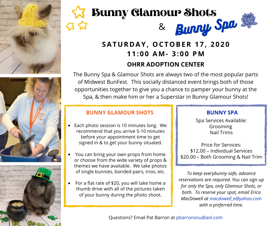 Bunny Glamour Shots and Bunny Spa – Oct. 17th